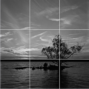9 equal squares on the basis of the Rule of Thirds